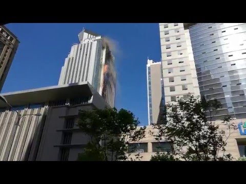 Building catches fire in downtown Nanjing