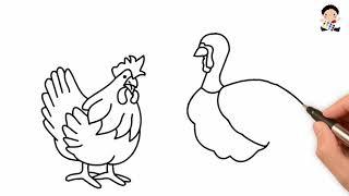 Vẽ Con Gà và Con Công - Dạy Bé Học Vẽ