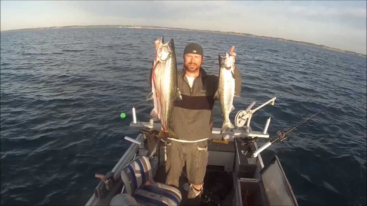 Lake michigan salmon fishing solo double youtube for Michigan out of state fishing license