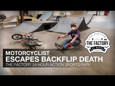 MOTORCYCLIST ESCAPES BACKFLIP DEATH - The Factory Bike Park in Minneapolis