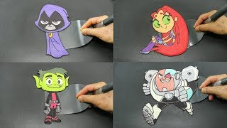 Teen Titans Go! Pancake Art Compilation - Raven, Starfire, Beast Boy, Cyborg, Robin