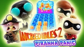 Incredibles 2 Piranha Panic Supers vs Villains! With Mr Incredible, Elastigirl, and Screenslaver!