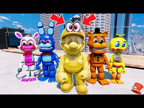 ANIMATRONICS MEET NEW GOLDEN SUPER MARIO ODYSSEY! (GTA 5 Mods For Kids FNAF RedHatter)