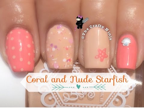 Coral and Nude Starfish Nails
