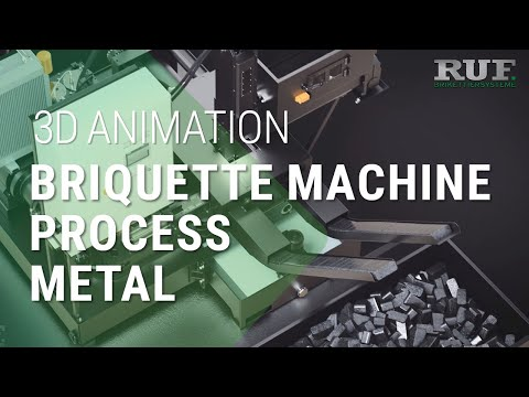 Metal chip briquetting with RUF briquetting machines    3D visualization of the process