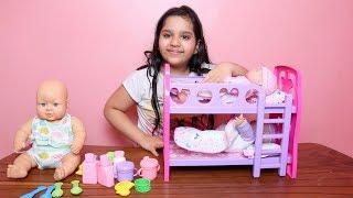 لعبة بيبي توأم مع سرير طابقين!! العاب بنات!!   !!Baby Doll Bunk Bed Bedroom House toy