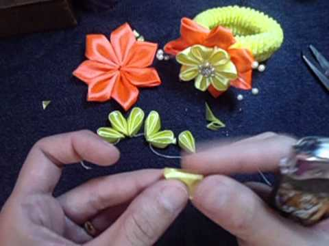 Flor de fita para xuxinha/ ribbon flower Music Videos