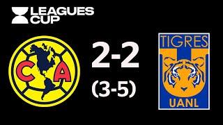 Resumen y Goles Amrica vsTigres UANL Leagues Cup 2019