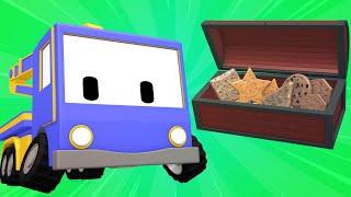 Tiny Trucks - rescue operation - Kids Animation with Street Vehicles Bulldozer, Excavator & Crane