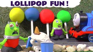 Funny Funlings Play Doh Surprise Lollipops with Thomas The Train and The Botbots