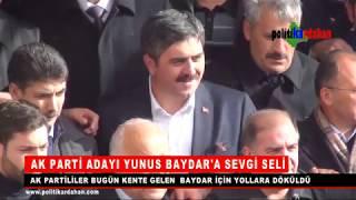 AK Parti Ardahan Belediye Başkan Adayı Yunus Baydar için coşkulu karşılama www.politikardahan.com
