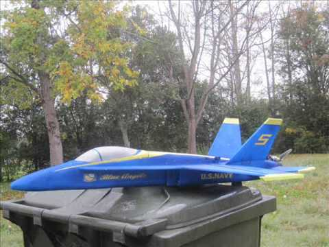 r/c blue angel F-18 construction and crash