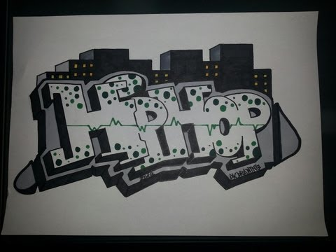 Step by step how to draw graffiti letters - Hip Hop