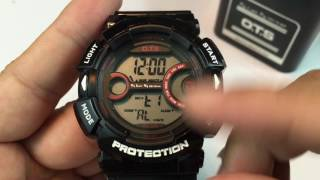 O.T.S. T7008G Waterproof Digital Sports Watch (Countdown & Backlight) review - giveaway Sep 17, 2016
