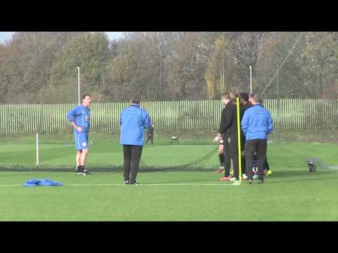 MALKY MACKAY'S FIRST TRAINING SESSION AS WIGAN ATHLETIC MANAGER