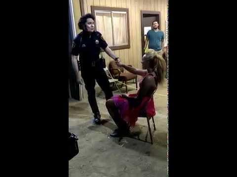 Elvis Police Officer Serenades unsuspecting B-Day Gal -