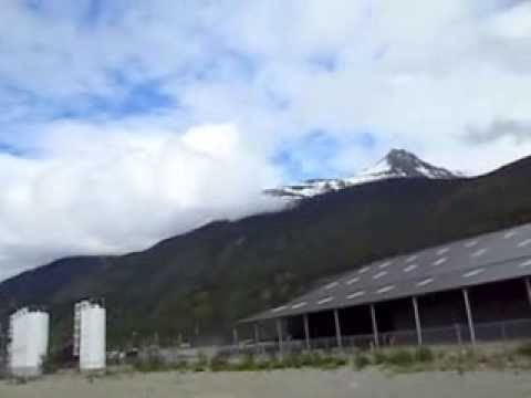 Skaway Port, Alaska -- cruise ships, copper&lead ore, petroleum barges, gold-rush.  3D video.