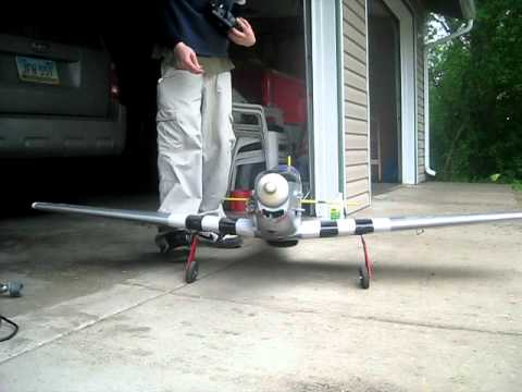 Giant RC P51 Mustang Engine Startup 20cc Weed Eater Conversion FL20 Awesome Sound!