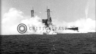 Aerial bombing of battleship USS Alabama (BB-8) in the Chesapeake Bay under direc...HD Stock Footage