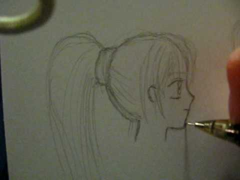 how to draw the ends of ponytails
