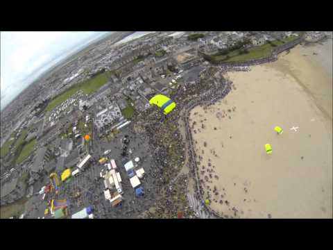 The Skydive Wildgeese DEMO team jumping into the Portrush Airwaves Airshow 2014.