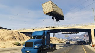 GTA 5 - Semi Truck Stunt with C4 Nuke Mod