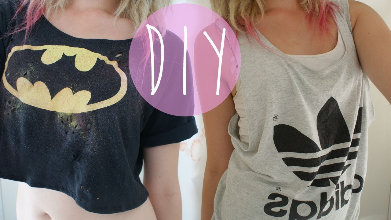 Diy tank top and crop top from old t shirts youtube for How to put a picture on a shirt diy