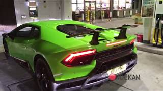 Lamborghini Huracan Performante Flames, crackles and drive with R8 V10+ Capristo