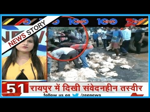 Inhuman act of residents in Raipur after accident of truck, steals chicken in lieu of saving victim