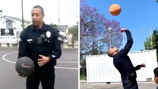 Cop Pulls Up To Park And Makes INCREDIBLE Trick Shot In Front Of Kids