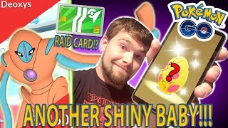 ANOTHER SHINY BABY HATCH, DEFENSE FORM DEOXYS COUNTERS, AND RAID CARD!? (Pokemon GO)