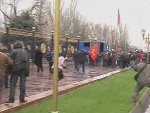 Thousands of Protesters Clash with Police in Kyrgyzstan