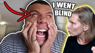 GOING BLIND PRANK ON MOM!! (she got SO mad)