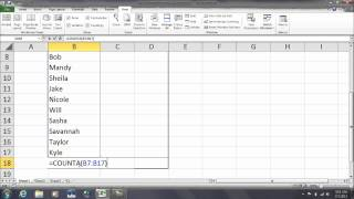 Excel: How to use the COUNTA function to count text items in a row or column.