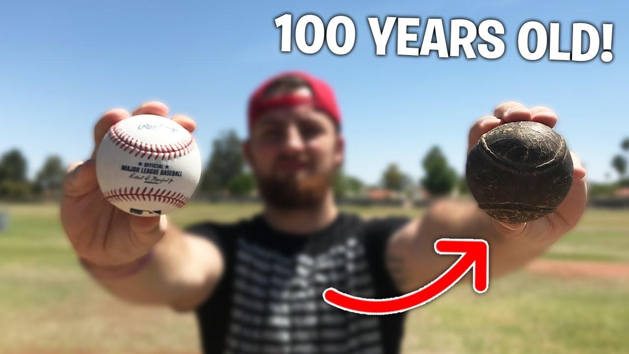 100 Year Old Baseball vs. 2018 MLB Baseball! IRL Baseball Challenge