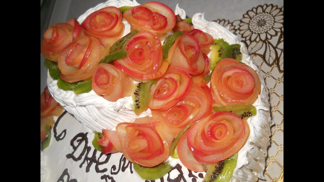 Рецепт розы из яблок как украшение пирога или торта - Вкусные