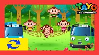 1 HOUR LOOP Five Little Monkeys l Nursery Rhymes l Tayo the Little Bus