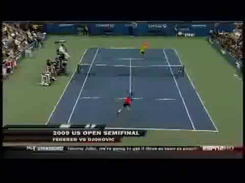 Roger Federer Hits Another Tweener Between The Legs Shot - US Open 2010 - 1st Round