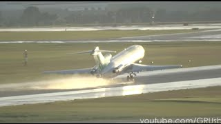 |HD| Boeing 727 mitando em GRU - Rainy take off