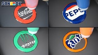 Beverage Logos Pancake art - Coca Cola, Pepsi, Monster, Fanta