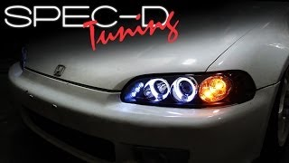 SPECDTUNING INSTALLATION VIDEO: 1992-1995 HONDA CIVIC ONE PIECE PROJECTOR HEADLIGHTS