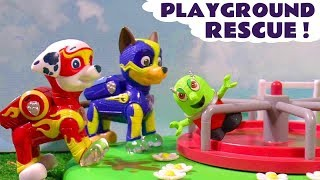 Paw Patrol Mighty Pups Park Rescue with DC Comics & Funny Funlings in this Toy Story Full Episode