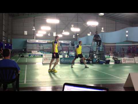 The final stages of the 2012 Oceania Teams Championships, Mens Doubles Rubber between Australia's Ross Smith & Glenn Warfe and New Zealand's Kevin Dennerly-M...