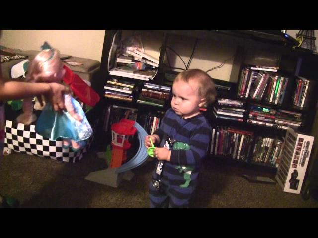 play video: Little Boy Really Likes FROZEN