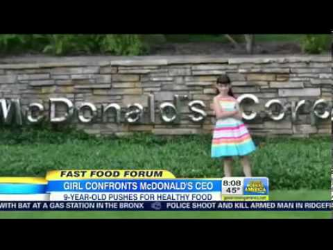 9 Year Old Slams McDonald's CEO Over Junk Food