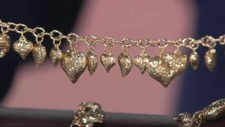 Vicenza Gold Diamond Cut Heart Charm Bracelet 14K Gold on QVC