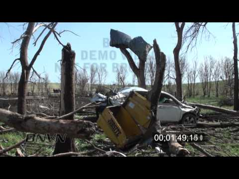 5/22/2010 Bowdle, SD tornado aftermath stock video
