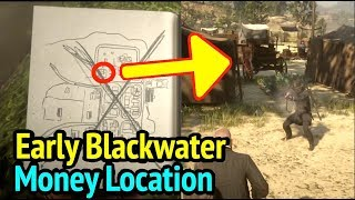 Early Blackwater Money Location in Red Dead Redemption 2 (RDR2): $ Sign On Journal Map