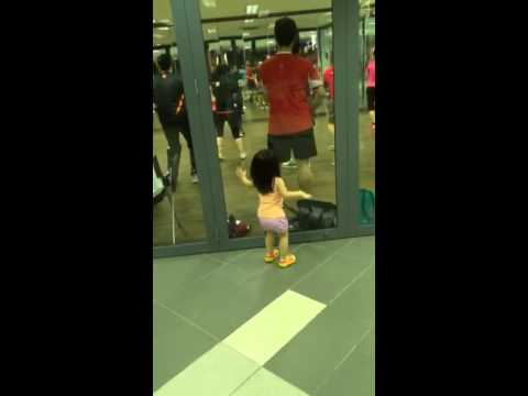 Youngest aerobic learner with butt twist