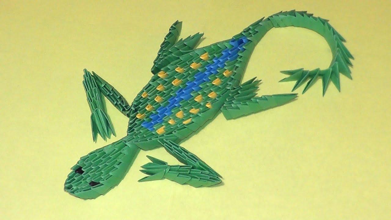 3d Origami Lizard Instruction Tutorial Modular Origami